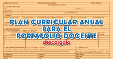 PLAN CURRICULAR ANUAL PARA EL PORTAFOLIO DOCENTE