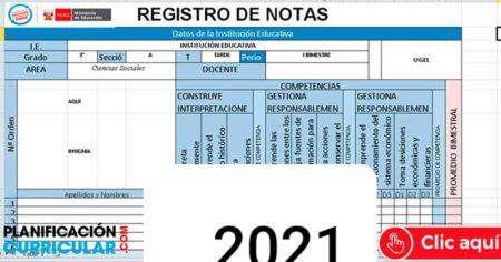 FABULOSOS REGISTROS DE NOTAS INICIAL-PRIMARIA-SECUNDARIA MINEDU 2021 - Editable
