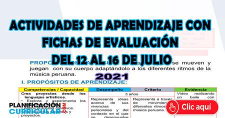 ACTIVIDADES DE APRENDIZAJE CON FICHAS DE APLICACIÓN DE EVALUACIÓN DE 12 AL 16 DE JULIO