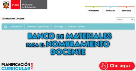 Banco de Materiales de Estudio para el EXAMEN de NOMBRAMIENTO DOCENTE 2019