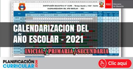 CALENDARIZACIÓN DEL AÑO ESCOLAR 2021 EN EXCEL