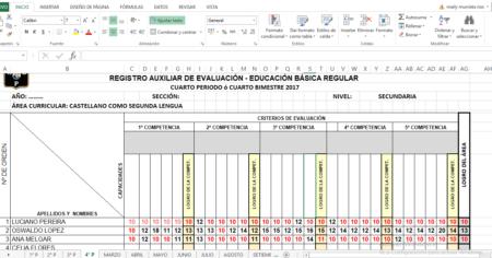 REGISTRO DE EVALUACIÓN BÁSICA, CASTELLANO COMO SEGUNDA LENGUA 2021