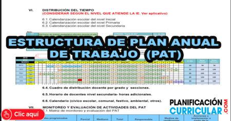 ESTRUCTURA de PLAN ANUAL de TRABAJO PAT - EDITABLE