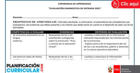 EVALUACIÓN DIAGNOSTICA DE COMUNICACIÓN 2021 - MINEDU