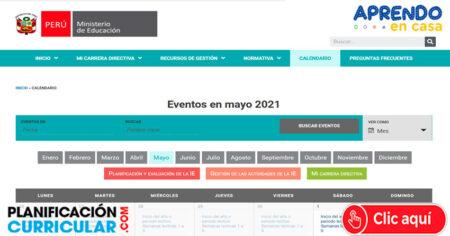 Calendario Mes de Mayo Y Eventos del Ministerio de Educación de Marzo a Diciembre 2021