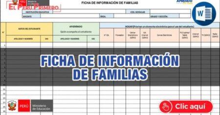 FICHA DE RECOJO DE INFORMACIÓN DE LAS FAMILIAS DEL PROYECTO