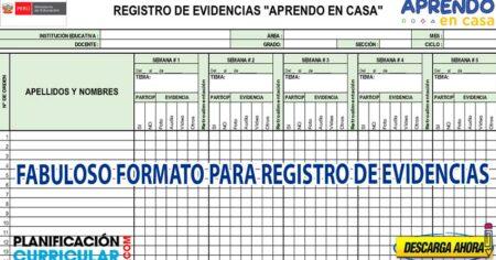FABULOSO FORMATO PARA REGISTRAR LAS EVIDENCIAS DEL TRABAJO REMOTO (Excel) Aprendo en Casa