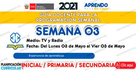 GUÍA DOCENTE TV y RADIO para la PROGRAMACIÓN SEMANAL - SEMANA 03 - MAYO 2021