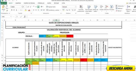 RÚBRICA PARA GUÍA DE EXPOSICIONES ORALES