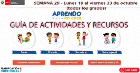 (SEMANA 29) ACTIVIDADES Y RECURSOS ACTUALIZADOS DE APRENDO EN CASA