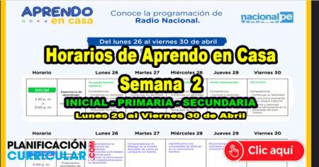 HORARIO TV PERU y RADIO NACIONAL SEMANA 02 - APRENDO EN CASA 2021 - Inicial - Primaria - Secundaria