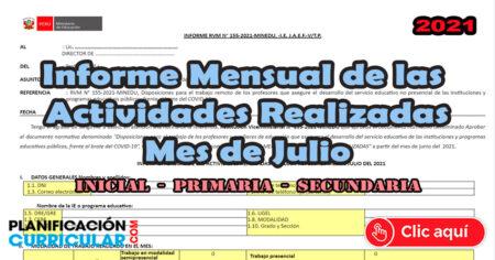 MODELO DE INFORME MENSUAL de las ACTIVIDADES REALIZADAS MES de JULIO - Inicial Primaria - Secundaria