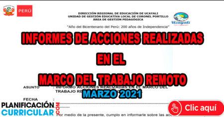 INFORMES SOBRE LAS ACCIONES REALIZADAS EN EL MARCO DEL TRABAJO REMOTO MARZO 2021