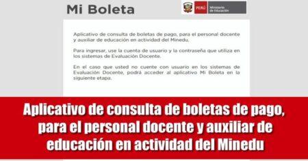 APLICATIVO PARA CONSULTAR BOLETA DE PAGO PARA DOCENTES Y AUXILIAR DE EDUCACIÓN