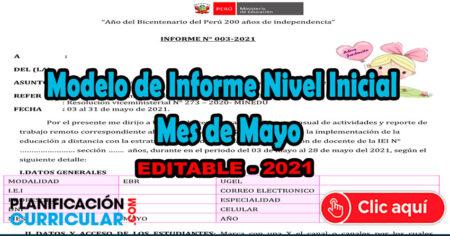 MODELO DE INFORME MES DE MAYO PARA INICIAL - EDITABLE 2021