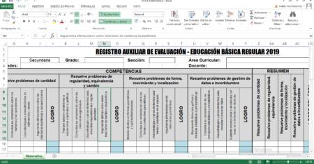 REGISTRO DE EVALUACIÓN BÁSICA DEL ÁREA DE MATEMÁTICA
