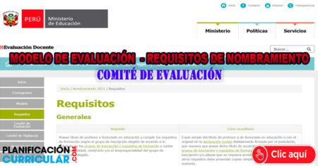 MINISTERIO DE EDUCACIÓN HABILITÓ PLATAFORMA PARA NOMBRAMIENTO DOCENTE 2021- Modelo de Evaluación-Requisitos-Comité de Evaluación