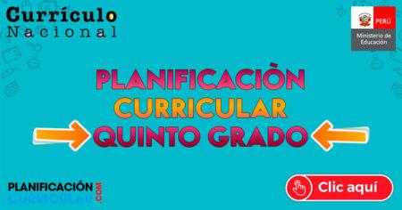 MODELO de PLANIFICACIÓN CURRICULAR 5to GRADO de PRIMARIA