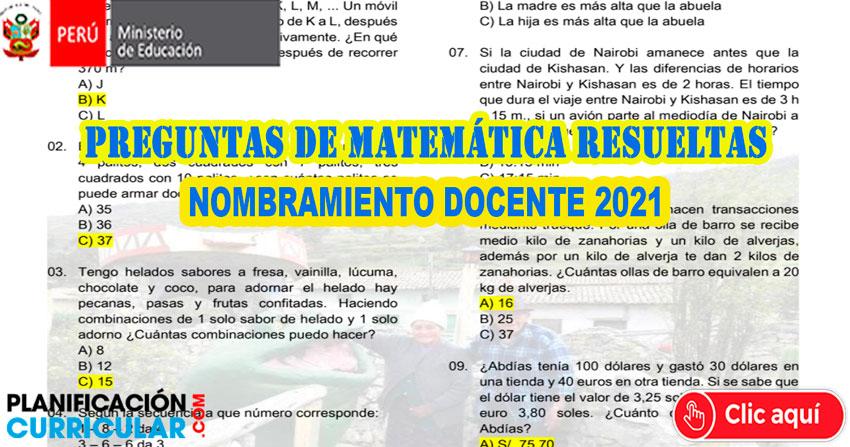 Aqui Preguntas De Matematica Resueltas Para Nombramiento Docente 2021 Planificacion Curricular
