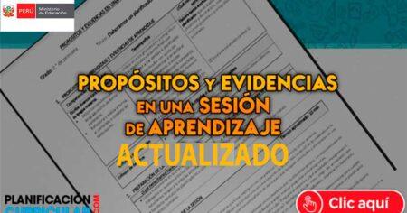 PROPÓSITO Y EVIDENCIAS EN UNA SESION DE APRENDIZAJE- EDITABLE