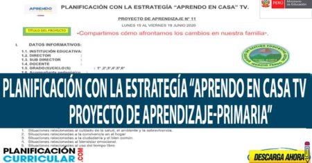 PROYECTO DE APRENDIZAJE SEMANA 11 NIVEL PRIMARIA DE LA ESTRATEGIA