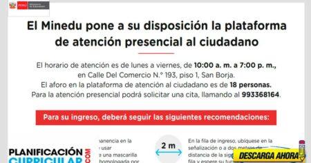 MINEDU PONE A DISPOSICIÓN LA PLATAFORMA DE ATENCIÓN PRESENCIAL AL CIUDADANO