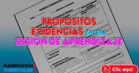 MODELO DE PROPÓSITOS Y EVIDENCIAS EN UNA SESIÓN DE APRENDIZAJE (EDITABLE)