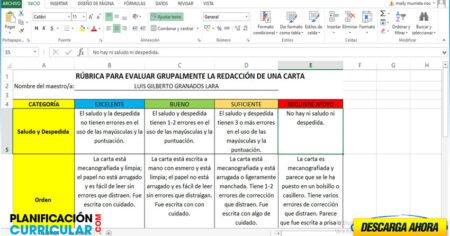 RÚBRICA PARA EVALUAR GRUPALMENTE LA REDACCIÓN DE UNA CARTA