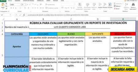 RÚBRICA PARA EVALUAR GRUPALMENTE UN REPORTE DE INVESTIGACIÓN