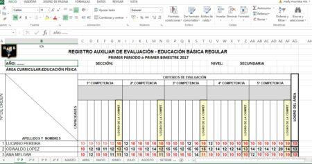 REGISTRO DE EVALUACIÓN DE EDUCACIÓN FISICA