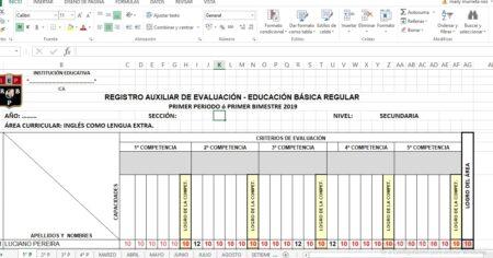 REGISTRO AUXILIAR DE EVALUACIÓN DE INGLES