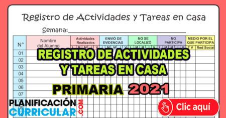 REGISTRO DE ACTIVIDADES Y TAREAS DE APRENDO EN CASA - Primaria