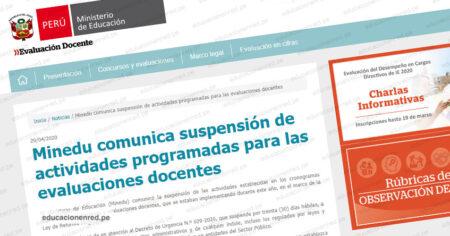 COMUNICADO MINEDU: Suspenden actividades programadas para las Evaluaciones Docentes 2020 (Concurso Nacional Docente)