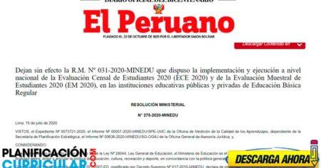 QUEDA SUSPENDIDO - Evaluación Censal de Estudiantes 2020 (ECE 2020) y la Evaluación Muestral de Estudiantes 2020 (EM 2020)