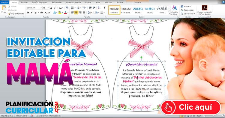 Invitación Editable Para Mama En Su Día Lista Para