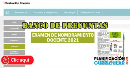 BANCO DE PREGUNTAS para CONCURSO de Nombramiento Docente 2021