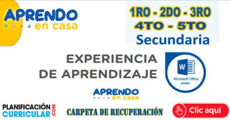 CARPETA DE RECUPERACIÓN RESUELTO 1RO 2DO 3RO 4TO 5TO DE SECUNDARIA - Aprendo en Casa