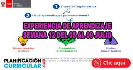 EXPERIENCIA DE APRENDIZAJE DE LA SEMANA 12 del 05 al 09 de JULIO 2021