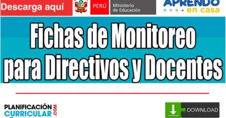 FICHAS DE MONITOREO Y SUPERVISIÓN DE LOS DIRECTIVOS Y DOCENTES DE LAS IIEE. SOBRE LA GESTIÓN DE LA ESTRATEGIA APRENDO EN CASA