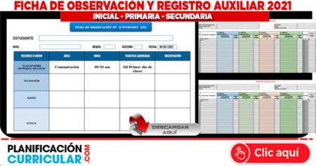 FICHA DE OBSERVACIÓN Y REGISTRO AUXILIAR 2021 INICIAL - PRIMARIA - SECUNDARIA