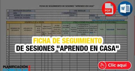 """""""APRENDO EN CASA"""" FICHA WORD y EXCEL DE SEGUIMIENTO DEL TRABAJO"""