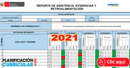 DESCARGA FORMATO EXCEL PARA REPORTAR ASISTENCIA - EVIDENCIAS Y RETROALIMENTACIÓN 2021 - Editable
