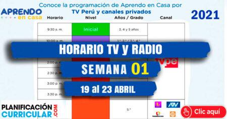 HORARIO TV PERU y RADIO NACIONAL SEMANA 01 - APRENDO EN CASA 2021