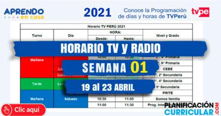 NUEVO HORARIO TV y RADIO NACIONAL APRENDO en CASA 2021 - INICIAL - PRIMARIA - SECUNDARIA