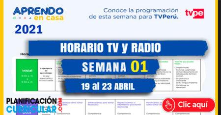 Horario TV PERU y RADIO NACIONAL SEMANA 01 - 2021 - Inicial - Primaria - Secundaria