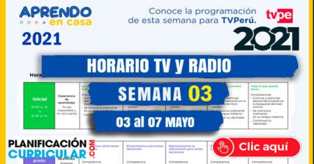 Horario TV PERU y RADIO NACIONAL SEMANA 03 - 2021