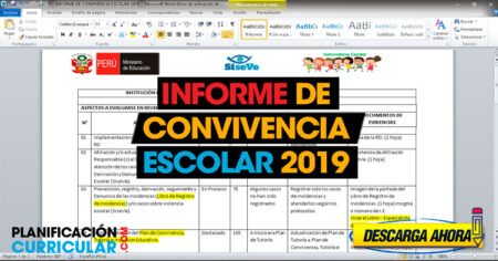 Modelo de Informe de convivencia escolar 2019