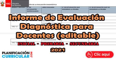 MODELO de INFORME de EVALUACIÓN DIAGNÓSTICA para DOCENTES - Editable
