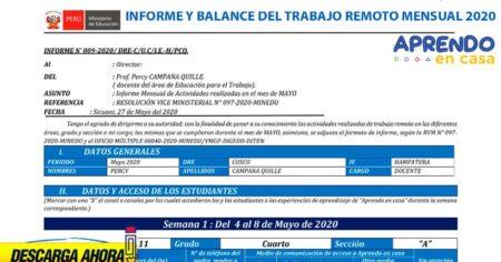 BALANCE DE INFORME MENSUAL SOBRE EL TRABAJO REMOTO–2020 EDITABLE