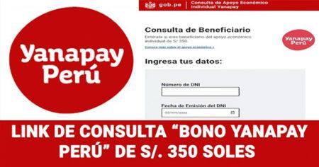 LINK DE CONSULTA DEL BONO YANAPAY 2021: consultas.yanapay.gob.pe